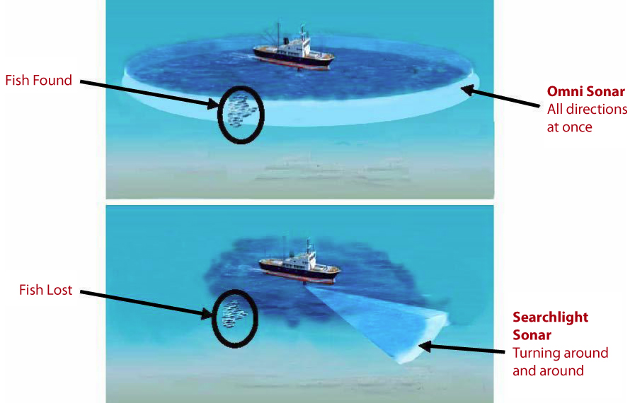 Searchlight Sonar vs Omni Sonar